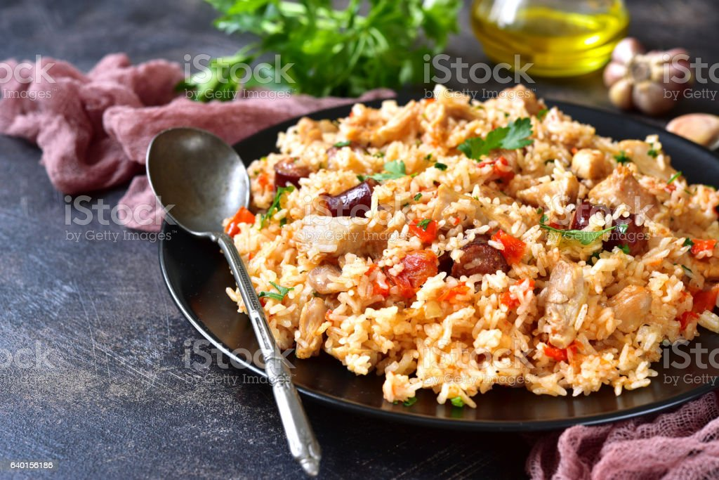 Jambalaya - spicy rice with meat and vegetables. stock photo