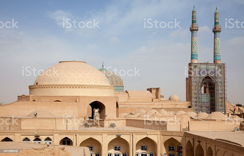 Jame Mosque and Traditional Bazaar of Yazd from Above stock photo