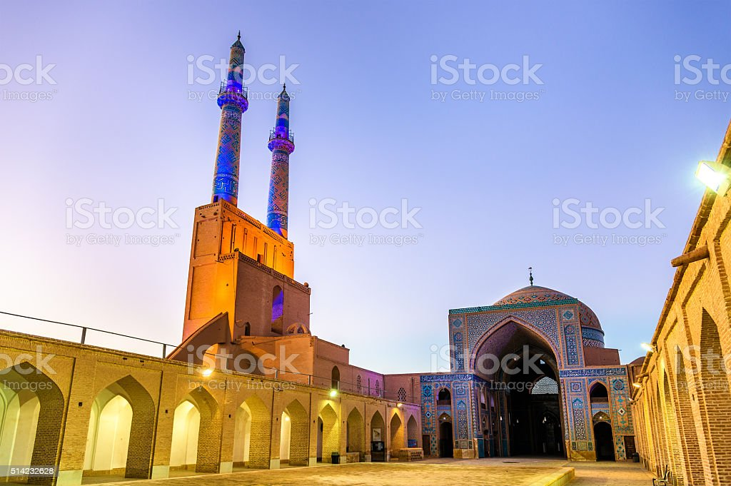 Jame Mosque of Yazd in Iran stock photo