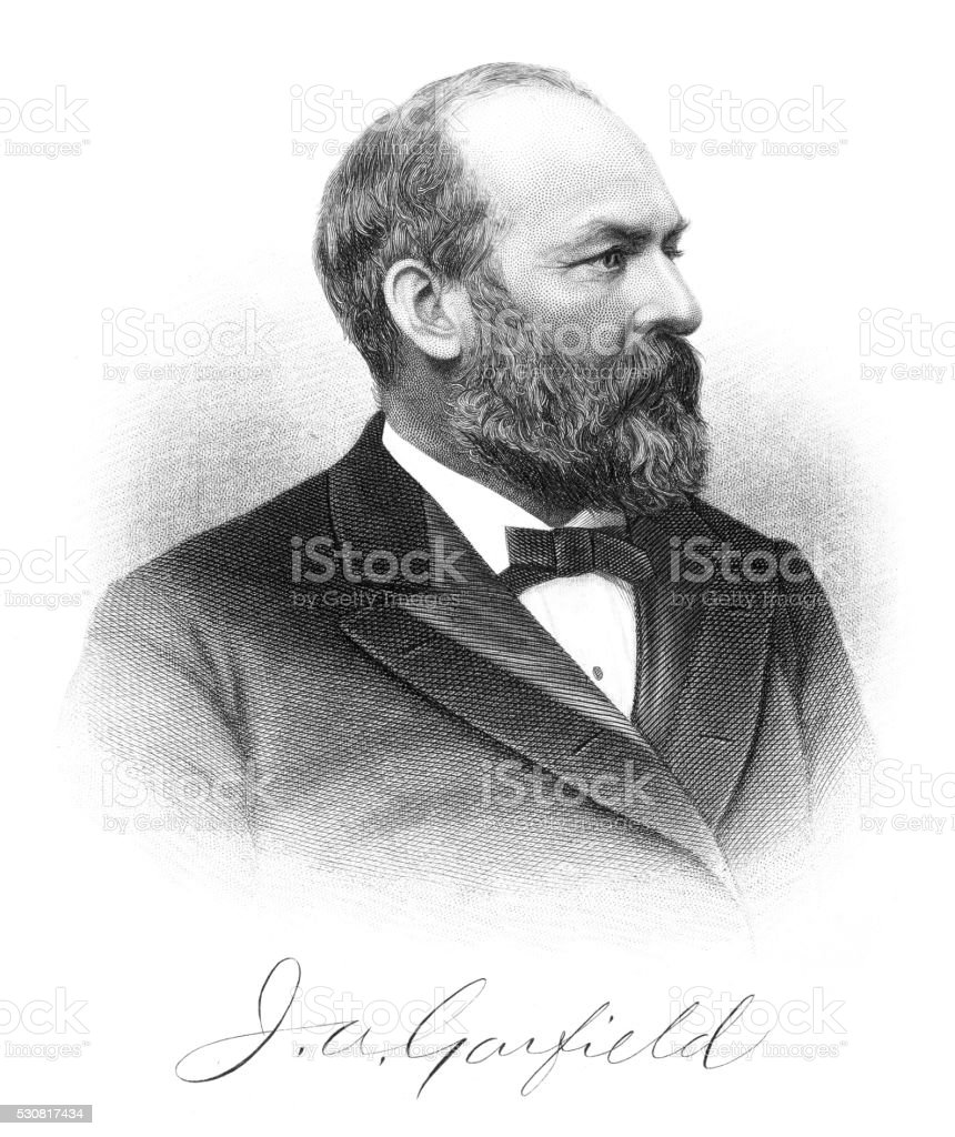 James A. Garfield engraving 1875 stock photo