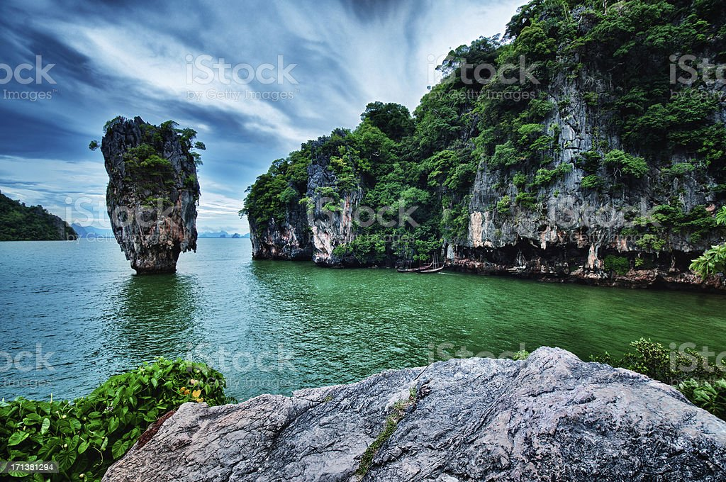 James Bond island in Phuket Thailand stock photo