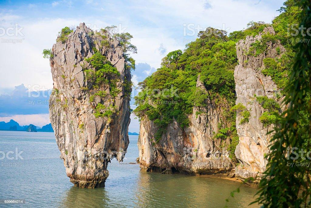 James bond island landmark of Phang-nga bay stock photo