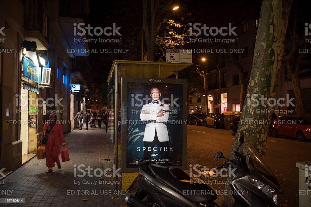 James Bond movie Spectre promoted in Barcelona, Spain stock photo