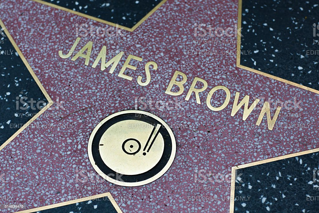 James Brown star on the Hollywood Walk of Fame stock photo