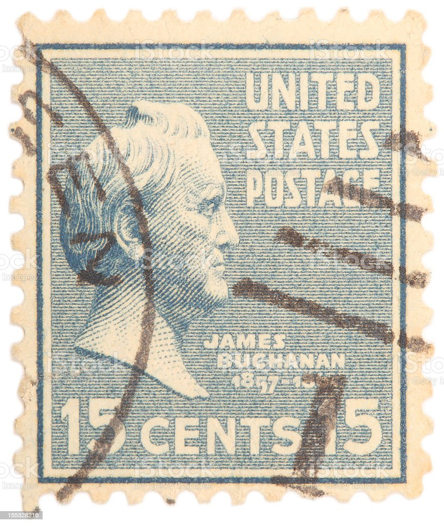 James Buchanan United States Postage Stamp stock photo