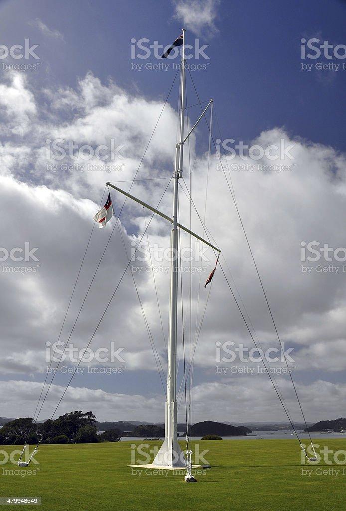 james Busby house flagpole, Waitangi Treaty Grounds, New Zealand stock photo