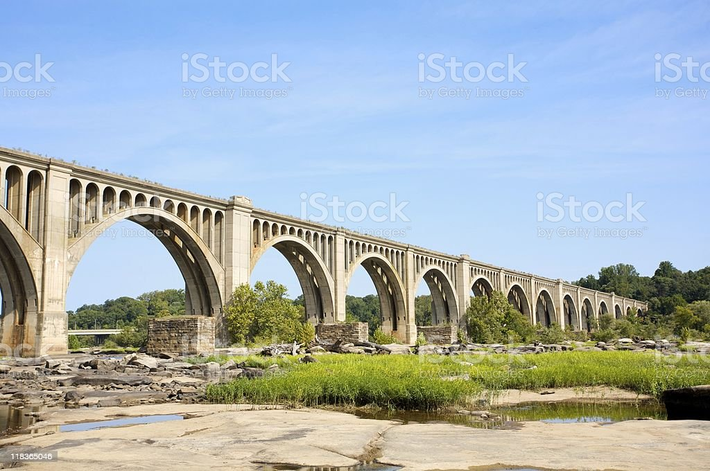 James River train bridge stock photo
