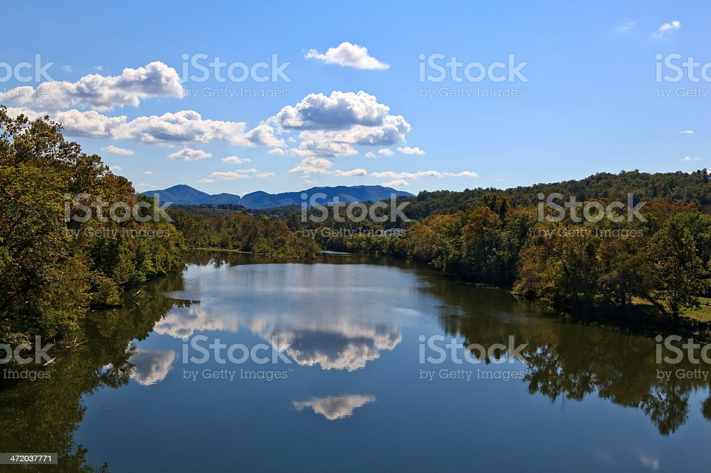 James River with Pretty Cloud Reflections stock photo