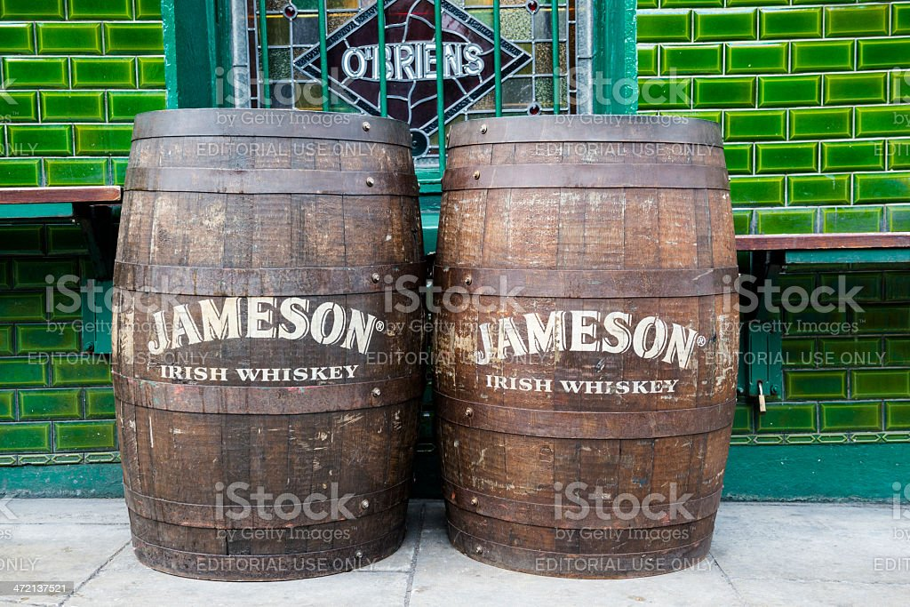 Jameson Irish Whiskey barrels outside pub in Dublin stock photo