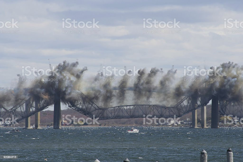 Jamestown Bridge Demolition stock photo