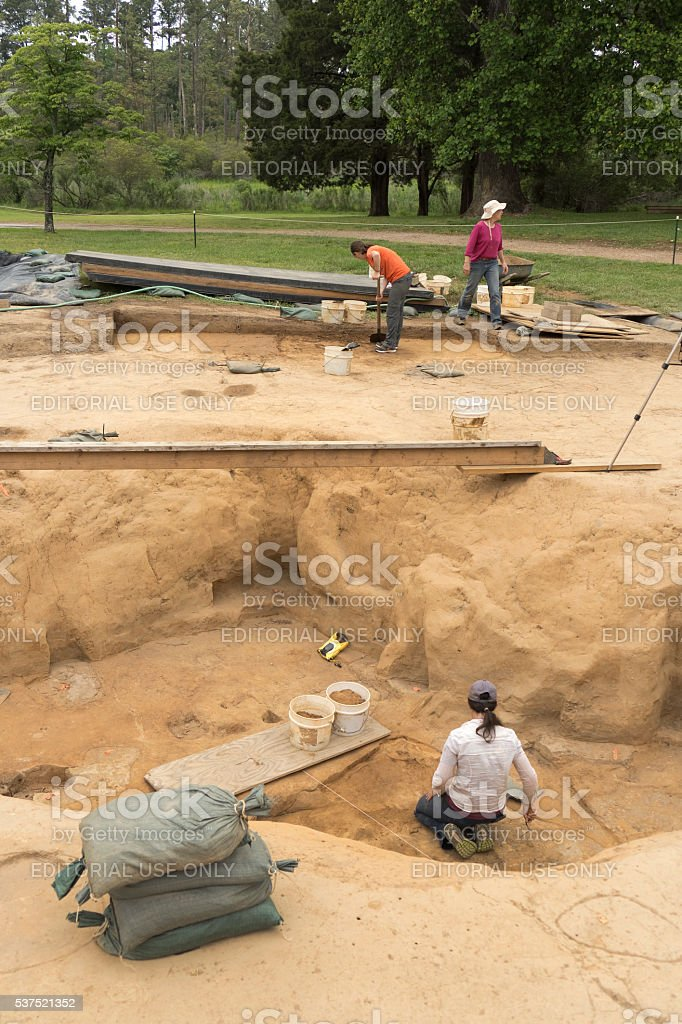 Jamestown Settlement Virginia archaeological dig site Colonial National Historical Park stock photo