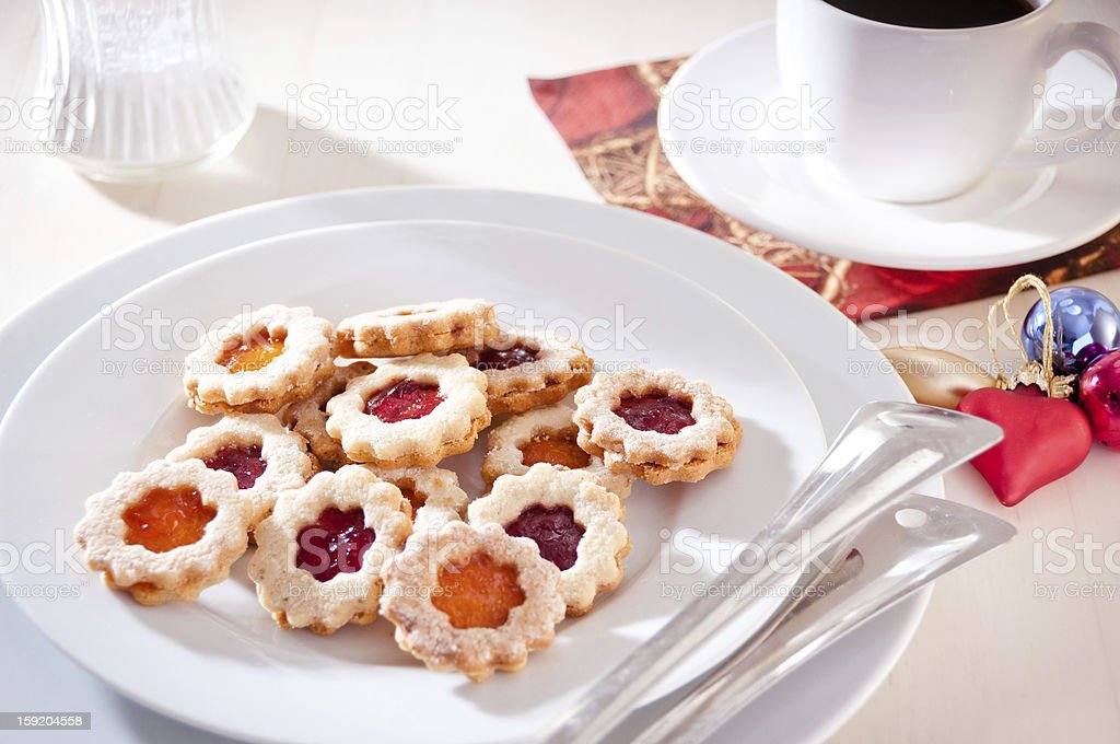 Jam-filled christmas biscuits stock photo
