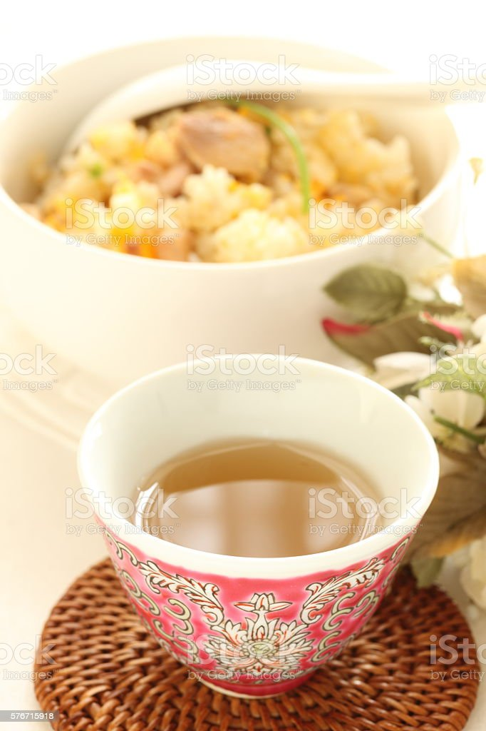 Jamine tea and fried rice stock photo