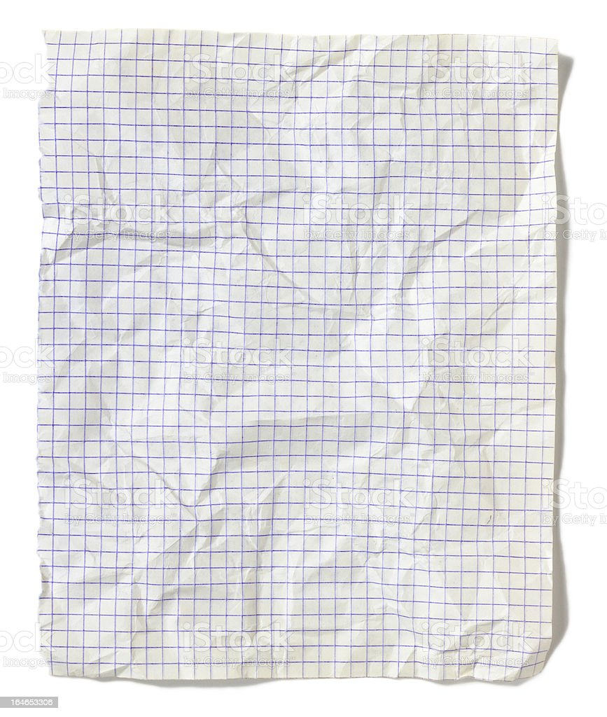 Jammed squared sheet of paper isolated on white background royalty-free stock photo
