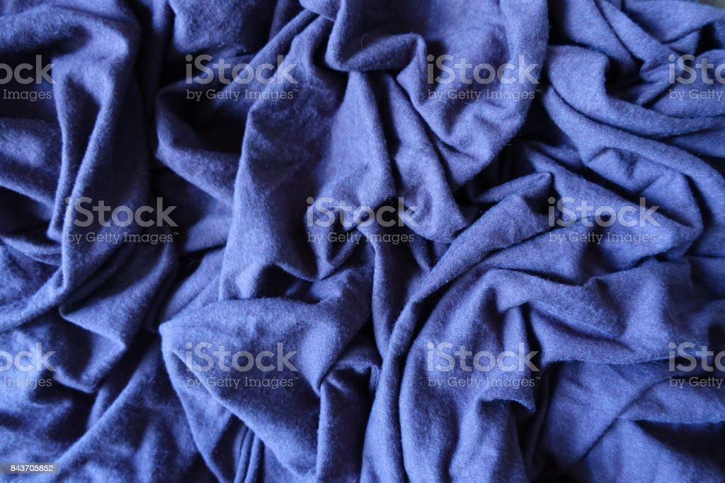 Jammed subdued blue simple thick stockinet fabric stock photo