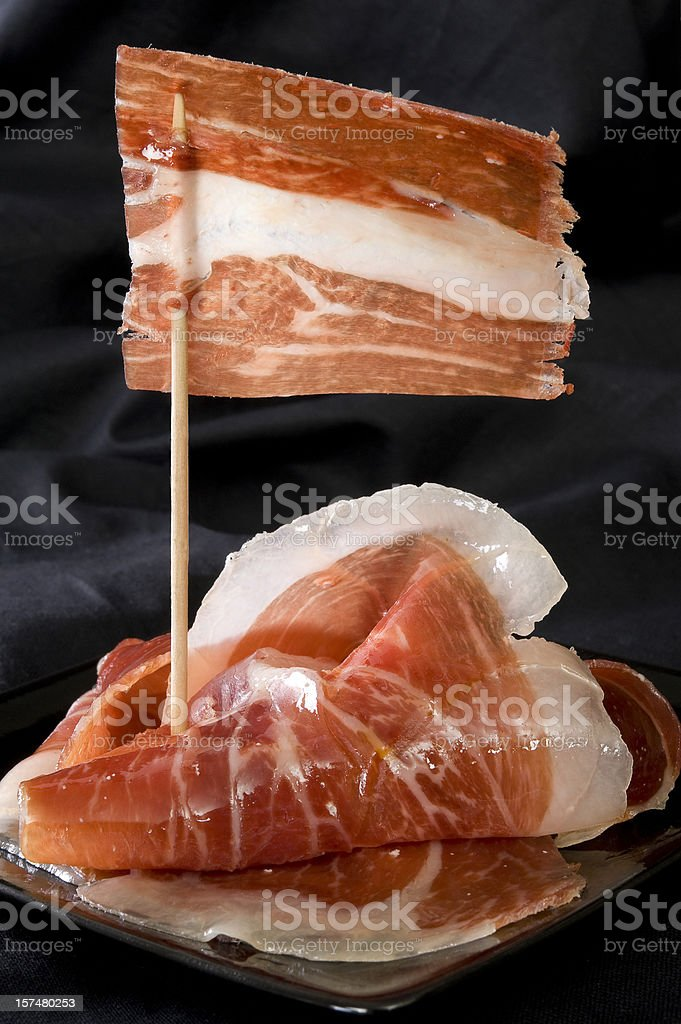 Jamon Iberico ham from Spain. stock photo