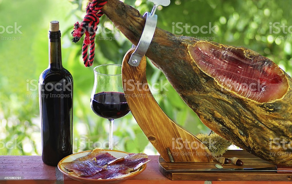 Jamon of spain and red wine. stock photo