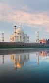 Jamuna River Reflection Taj Mahal Sunrise Rear