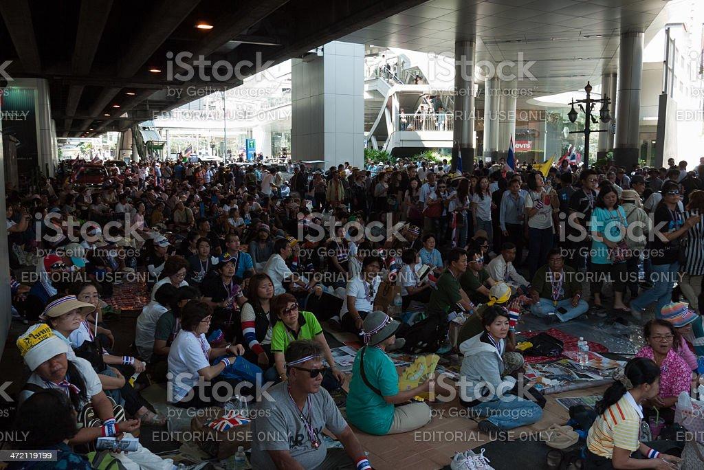 Jan 13, 2014 Shutdown Bangkok at Asoke intersection royalty-free stock photo