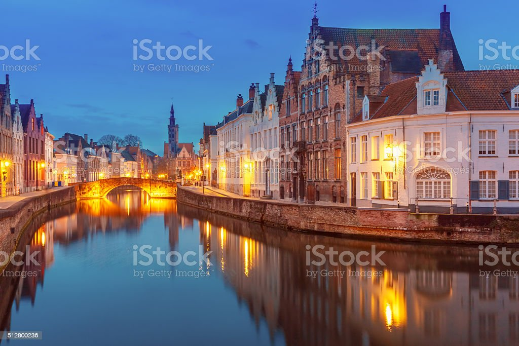 Jan Van Eyck Square and Canal Spiegel in Bruges, Belgium stock photo