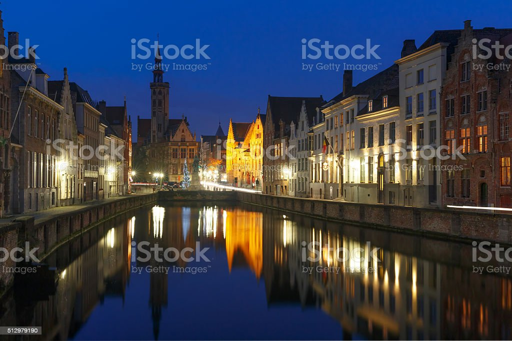 Jan Van Eyck Square and Canal Spiegel in Bruges stock photo