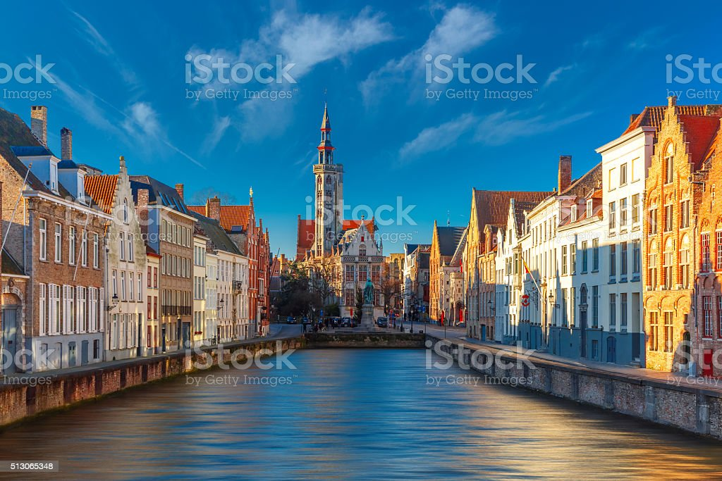 Jan Van Eyck Square and Spiegelrei in Bruges stock photo