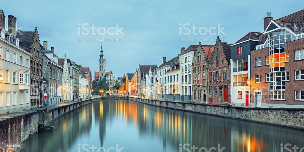 Jan van Eyck Square over the water, Bruges stock photo