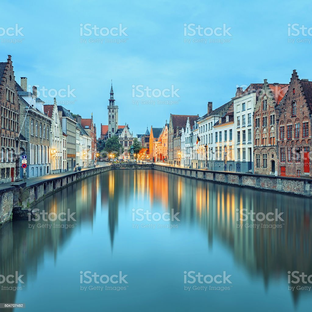 Jan van Eyck Square over the waters Bruges stock photo