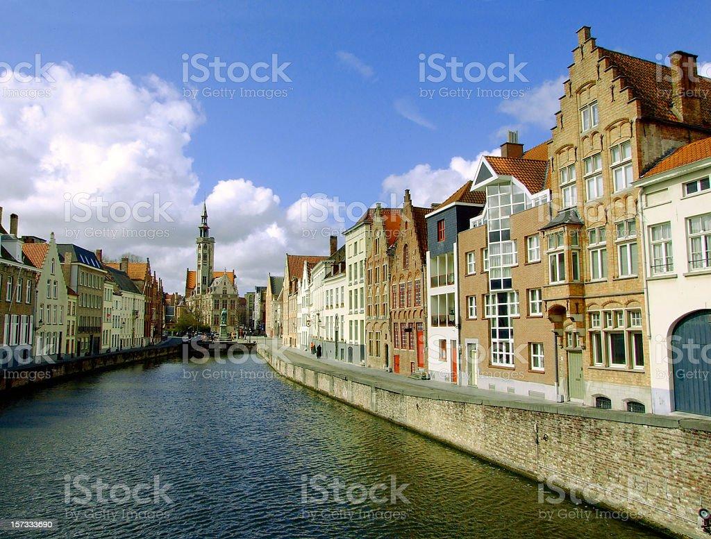 Jan van Eyckplein, Bruges, Belgium royalty-free stock photo