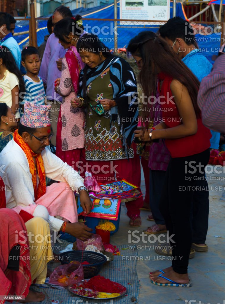 Janai Purnima or Raksha Bandhan Festival 2017 Nepal stock photo