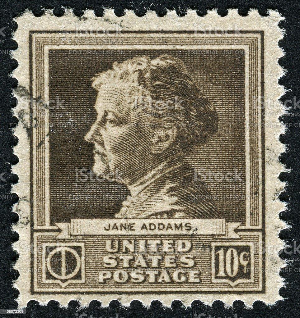 Jane Addams Stamp stock photo
