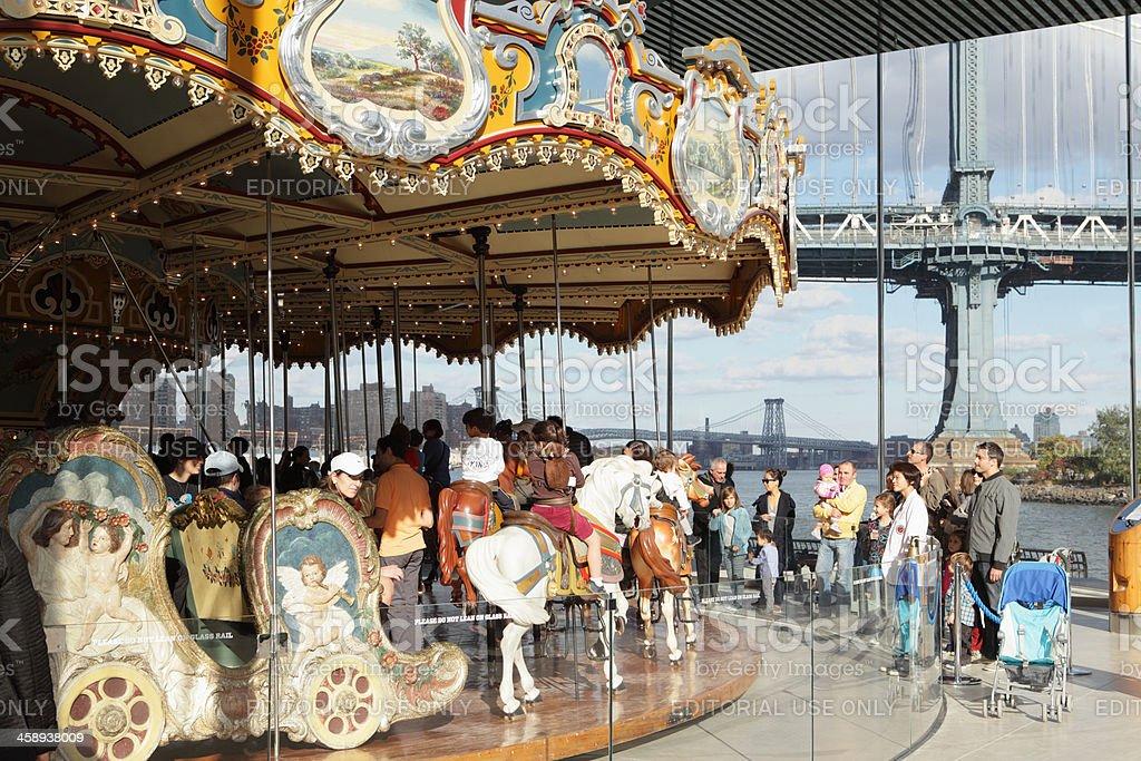 Jane's Carousel Brooklyn Bridge Park DUMBO NYC stock photo