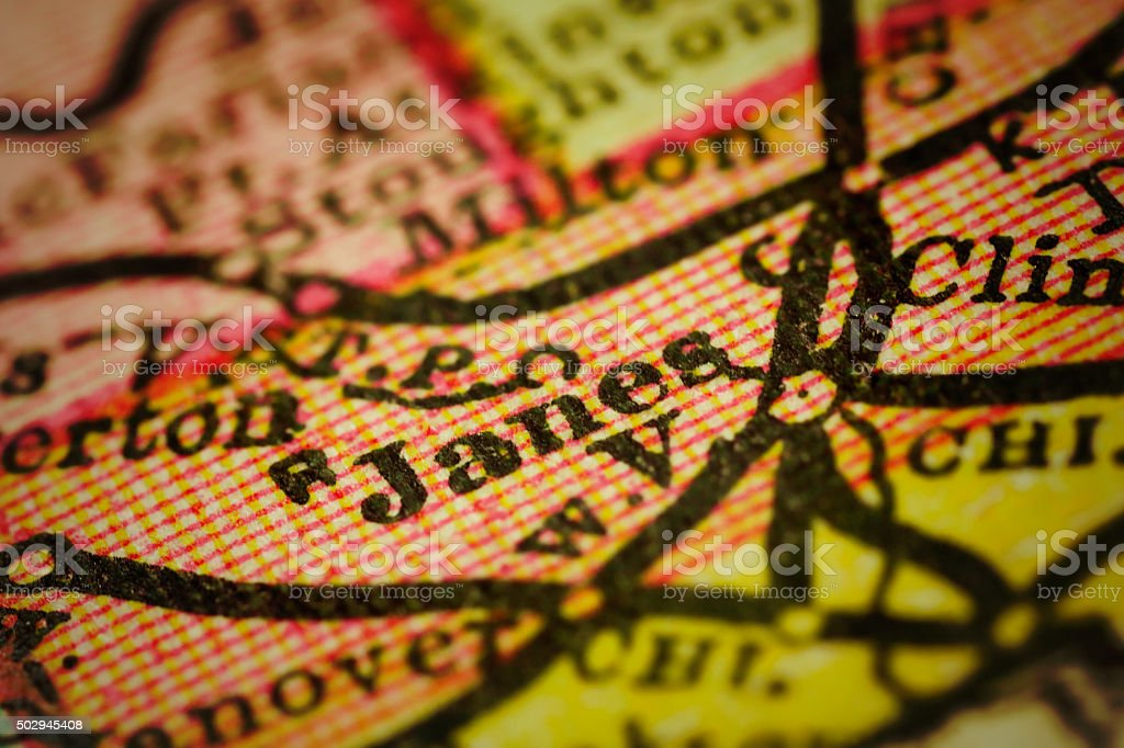 Janesville, Wisconsin on an Antique map stock photo
