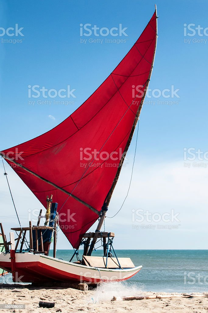 Jangada on the beach, Brazil stock photo