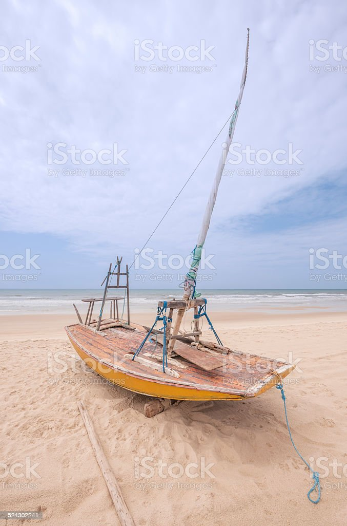 Jangada sailing boat used by Brazilian fishermen stock photo