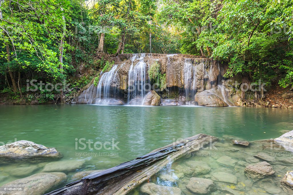Jangle landscape with  Erawan cascade waterfall stock photo