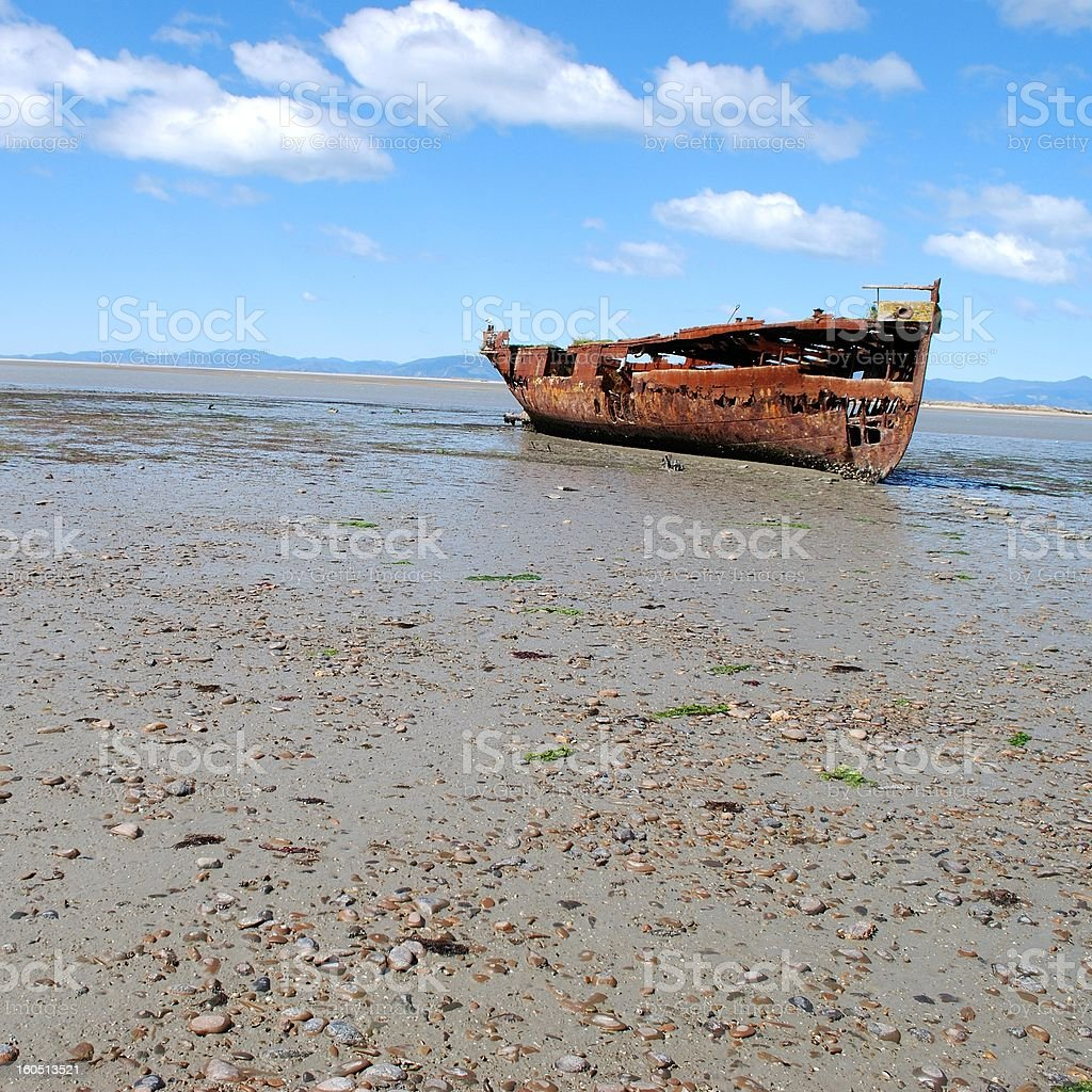 Janie Seddon Shipwreck, Motueka, NZ royalty-free stock photo