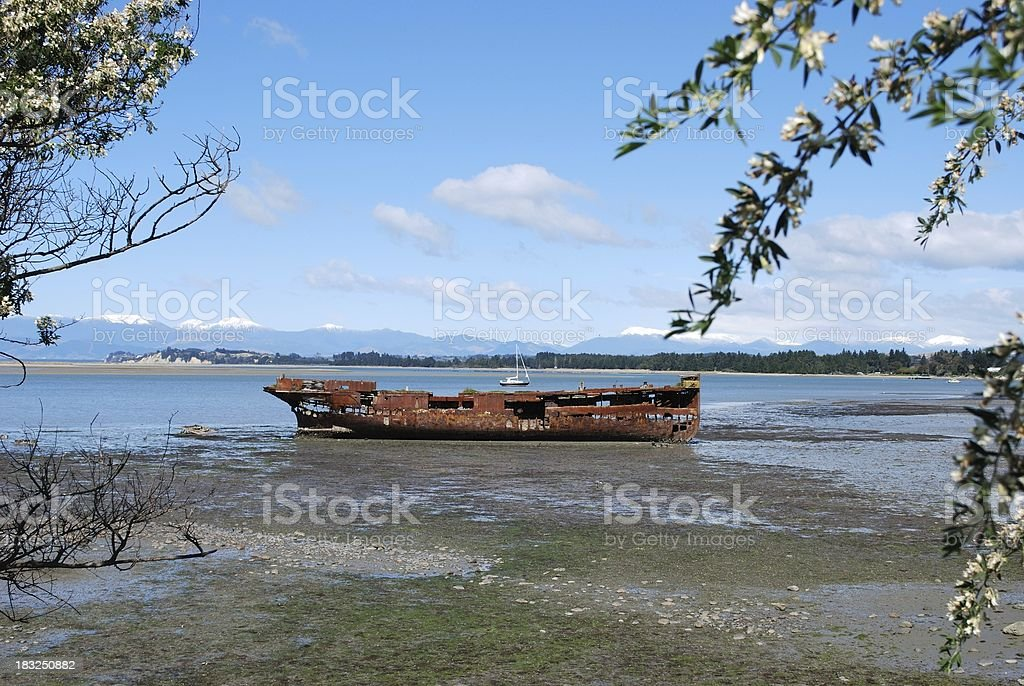 Janie Seddon Shipwreck, Motueka, NZ royalty-free stock photo