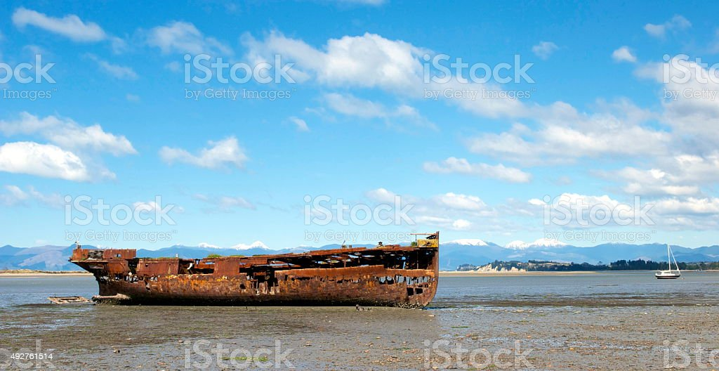 Janie Seddon Shipwreck, Motueka, NZ stock photo