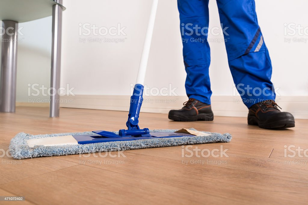 Janitor Mopping stock photo