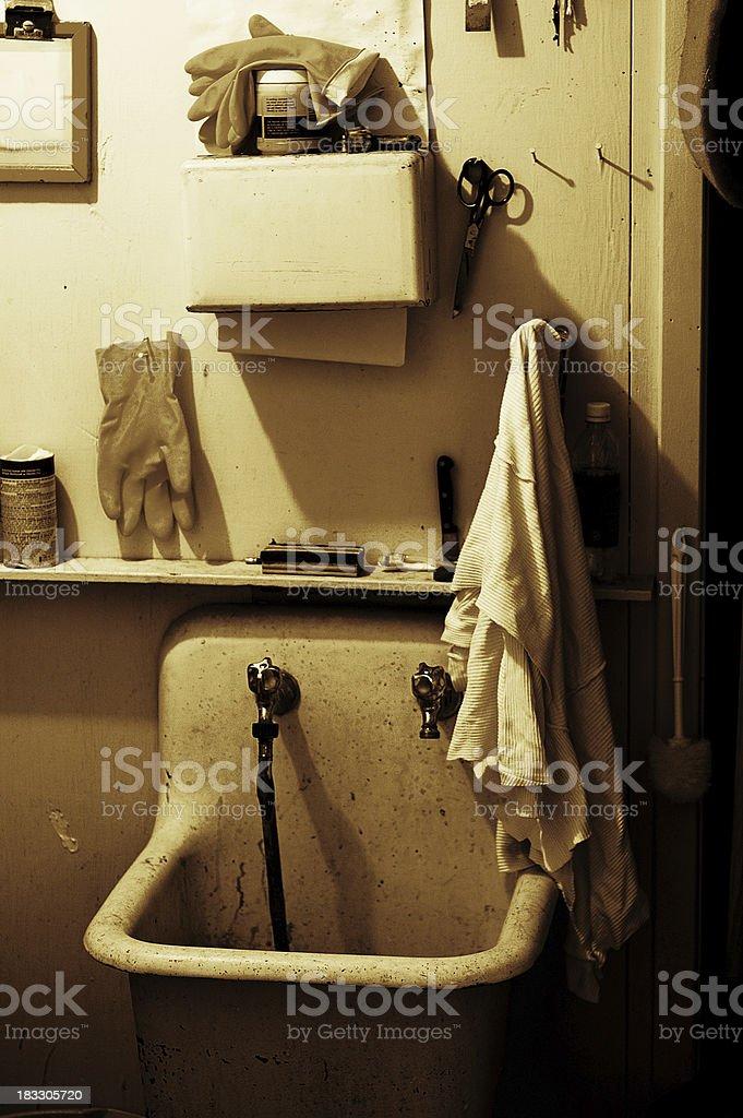 Janitor Supply Closet Sepia stock photo