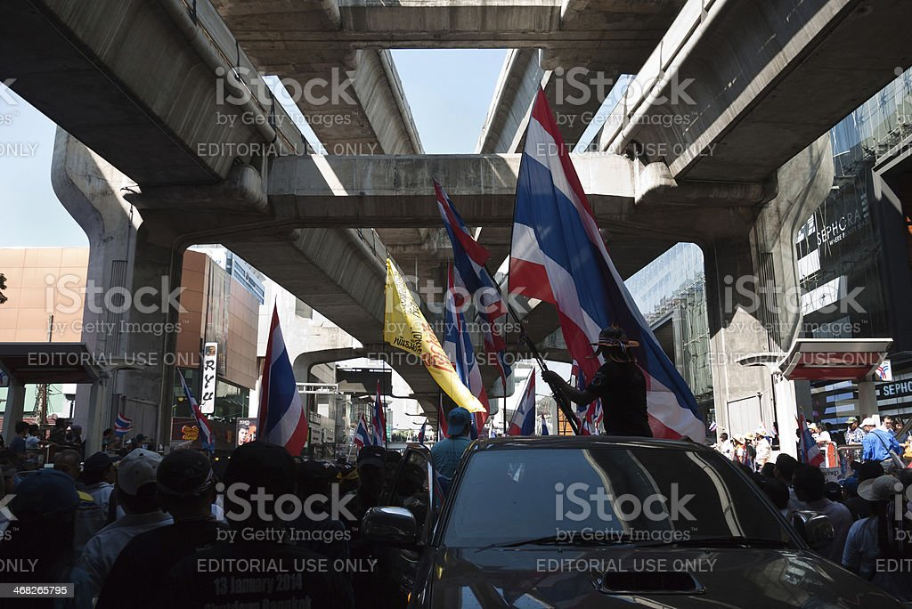 January 13, 2014 Shutdown Bangkok at BTS Siam royalty-free stock photo