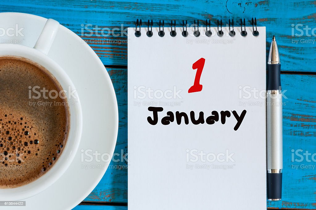 January 1st. Day 1 of month, calendar on teacher workplace stock photo