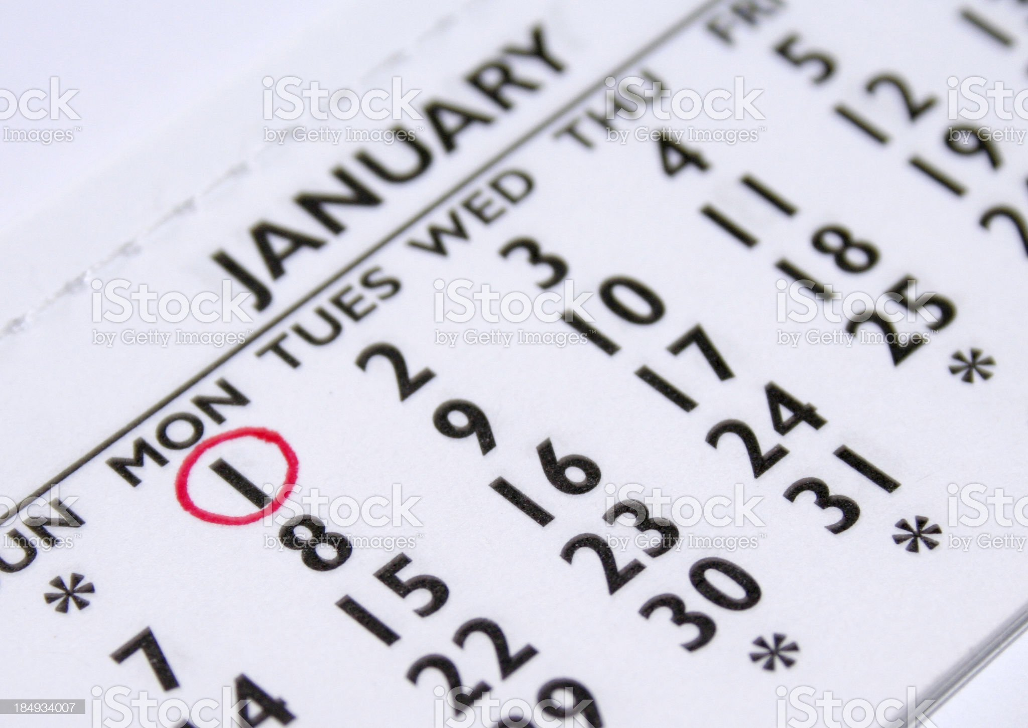 January 1st New Years Day royalty-free stock photo
