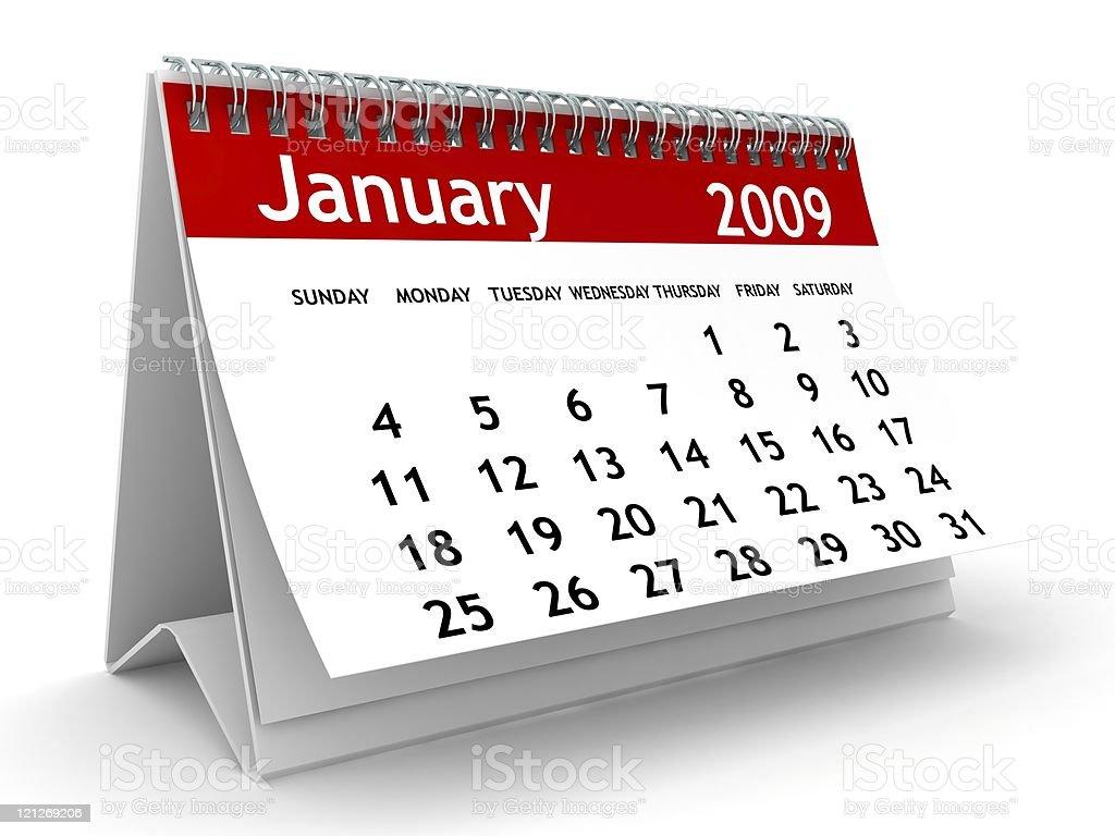 January 2009 - Calendar series stock photo