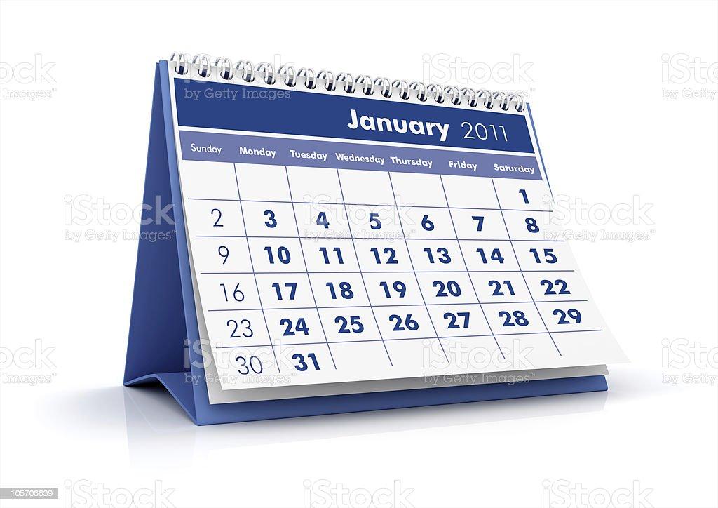 January. 2011 calendar royalty-free stock photo