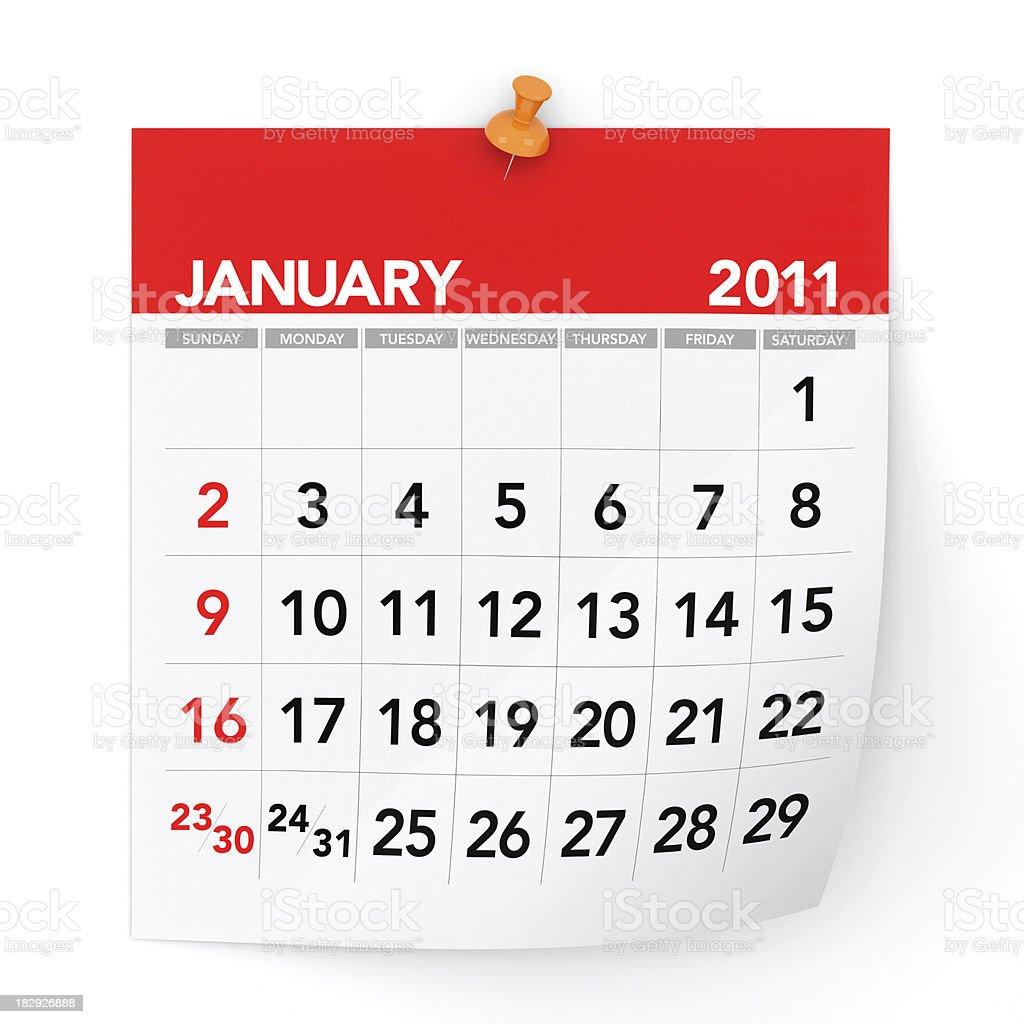January 2011 - Calendar royalty-free stock photo