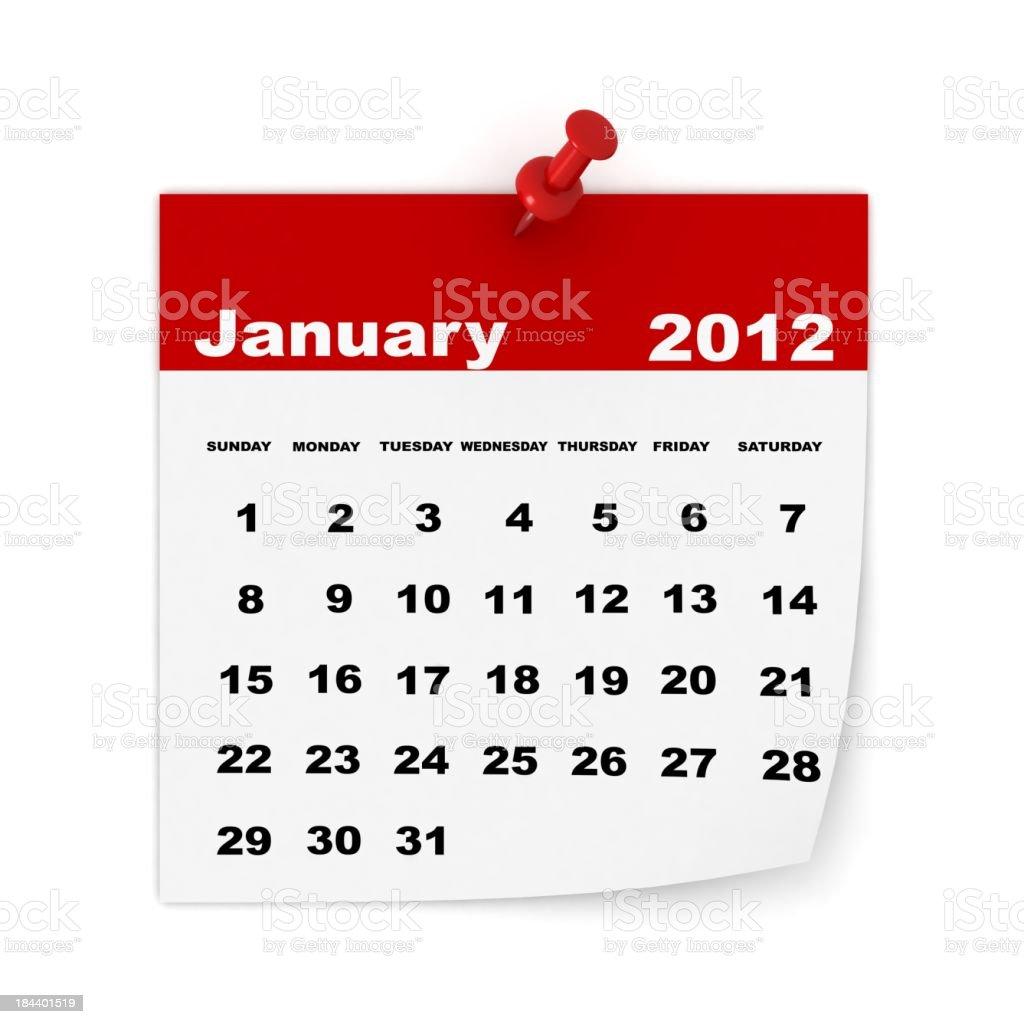 January 2012 Calendar royalty-free stock photo