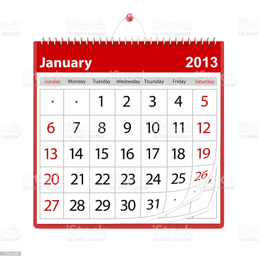 January 2013 Calendar royalty-free stock photo