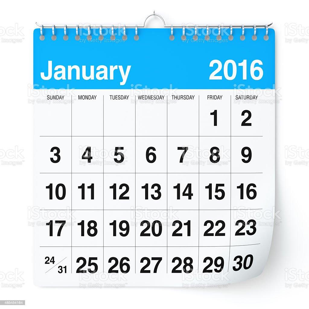 January 2016 - Calendar stock photo